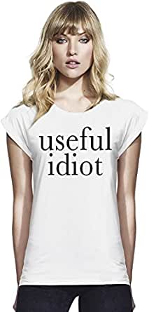 Useful Idiot Slogan Womens Continental Rolled Sleeve T-Shirt Large