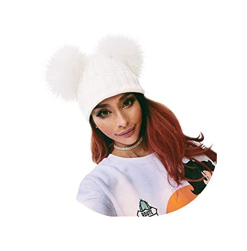 Spiritlele White Winter Beanie 2 Pompom Ball Knit Hat Faux Fox Fur Fluffy Warm Skull Cap for Women ()