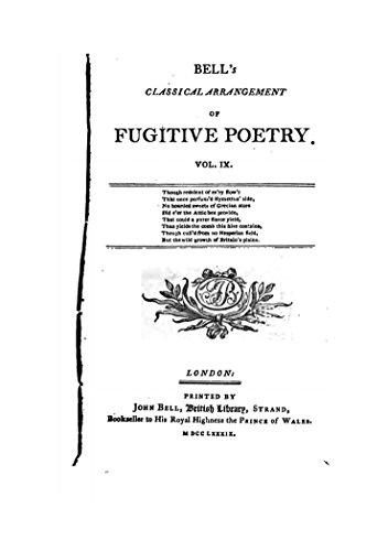 Bells Classical Arrangement (Bell's Classical Arrangement of Fugitive Poetry - Vol. IX)