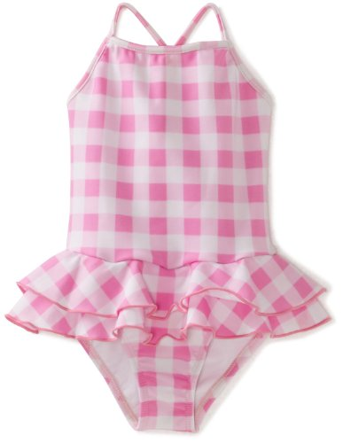 Planet Sea Baby Girls' One Piece Suit Ruffle Skirt, Pink/Checkers, 12 Months