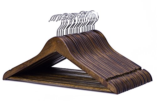J.S. Hanger Solid Wooden Suit Hangers Retro Finish with Anti-rust Hooks and Non-slip Bar - 20 Pack