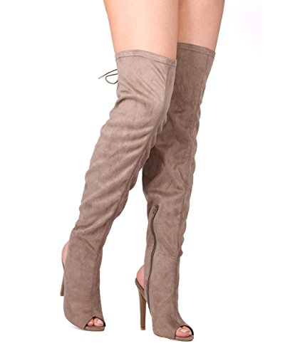 Qupid FE66 Women Faux Suede Thigh High Peep Toe Back Lace Stiletto Boot - Taupe