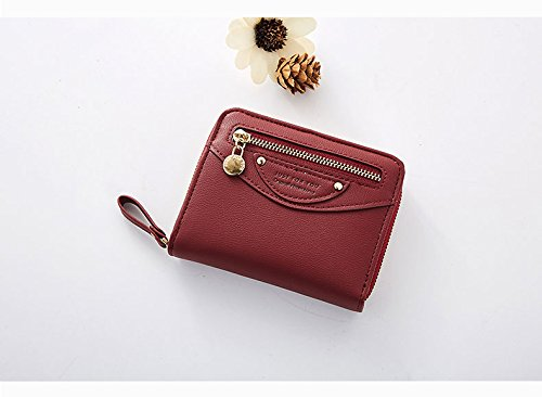 Small Compact Bifold Leather Pocket Wallet Purse for Women Clutch with ID Window Zipper Pocket Coin Card Cash Winered by Machao (Image #2)