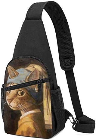 ボディバッグ ワンショルダー 斜めがけバッグ 真珠の耳飾りの猫 プリント ワンショルダーバッグ ボディーバッグ メンズ レディース 軽量 大容量 通勤通学旅行