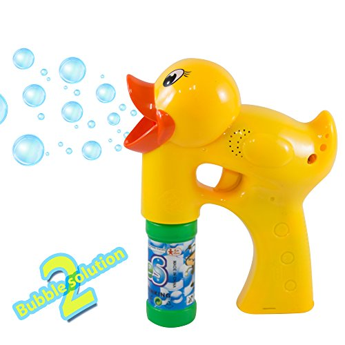 Bubble Gun Blower Machine Blaster - Duck Shape - With Music and Sounds - 2 Bubble Solution and Batteries Included