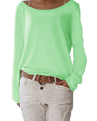 Fashion Pulls Blouses Col Shirts Shirts Femmes Nue Casual Chemisiers Bateau Lache Vert T Longues Tops Manches r0ww5F6xqR
