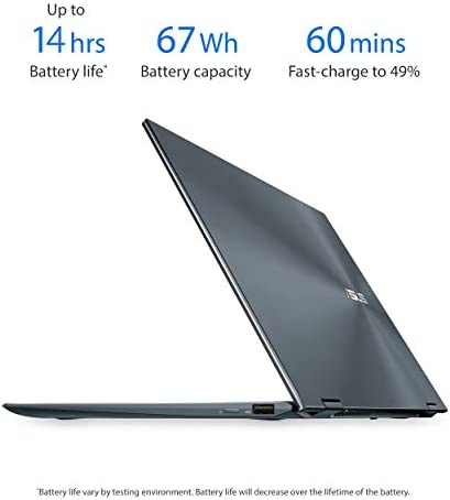 "ASUS ZenBook Flip 13 Ultra Slim Convertible Laptop, 13.3"" OLED FHD Touch Display, Intel Evo Platform - Core i7-1165G7 Processor, Iris Xe, 16GB RAM, 512GB SSD, Windows 10 Pro, Pine Grey, UX363EA-XH71T"