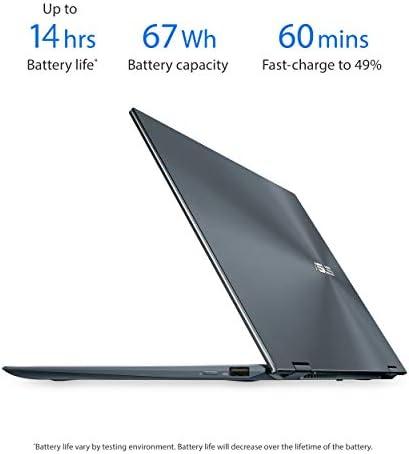 "ASUS ZenBook Flip 13 Ultra Slim Convertible Laptop, 13.3"" OLED FHD Touch Display, Intel Evo Platform - Core i7-1165G7 Processor, Iris Xe, 16GB RAM, 512GB SSD, Windows 10 Pro, Pine Grey, UX363EA-XH71T"