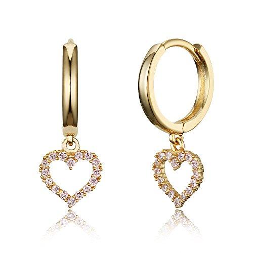 (14k Gold Plated Brass Pink Heart Plain Huggy Baby Girls Hoop Earrings)