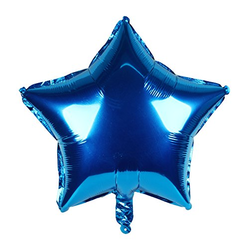 vLoveLife 10pcs Royal Blue Star Shape Foil Balloons Metallic Foil Helium Balloon 18
