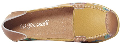 Flat Casual Loafers Leather Shoes Women's Mewoocue Slip Yellow On Moccasins Driving Penny Loafer tPXaFnqA