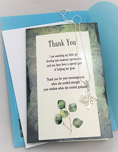 Smiling Wisdom - Thank You Mentor Teacher Appreciation Greeting Card - Growing Tree Charm with Multiple Uses (Charm, On Key Chain, Ornament, Candle Wrap) Gift Set