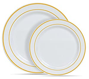 60 Heavyweight White with Gold Rim Plastic Plates 30 Dinner Plates and 30 Salad Plates By Select Settings  sc 1 st  Amazon.com & Amazon.com: 60 Heavyweight White with Gold Rim Plastic Plates: 30 ...