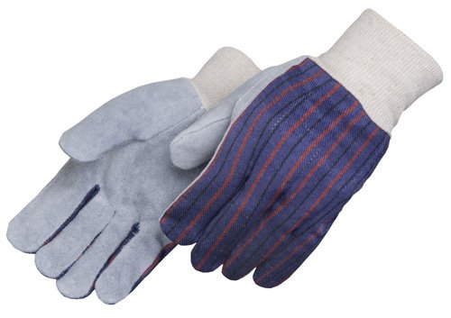 Liberty 3863 Regular Shoulder Split Leather Palm Men's Clute Pattern Glove with White Knit Wrist (Pack of 12) Palm Clute Pattern