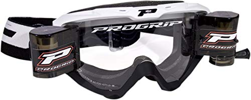 (Pro Grip 3450 Riot MX Offroad Goggles w/Roll-Off System White/Black)