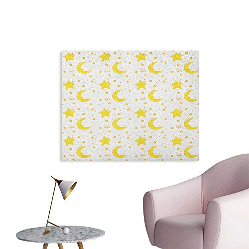 Anzhutwelve Yellow and White Art Stickers Sleeping Crescent Moon and Stars Pattern Night Time Cartoon Illustration Space Poster Yellow White W48 xL32]()