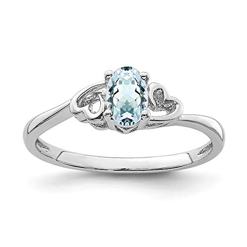 925 Sterling Silver Blue Aquamarine Band Ring Size 8.00 Birthstone March Gemstone Fine Jewelry Gifts For Women For Her