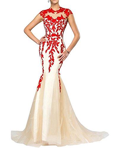FOLOBE apliques de encaje vestido de la madre de la novia vestido de noche formal de la sirena largo Rojo