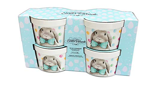 Whimsical Spring Bunnies Set of 4 Quality Porcelain Easter Holiday Bake-ware Ramekins (Bow-tie Rabbit) ()