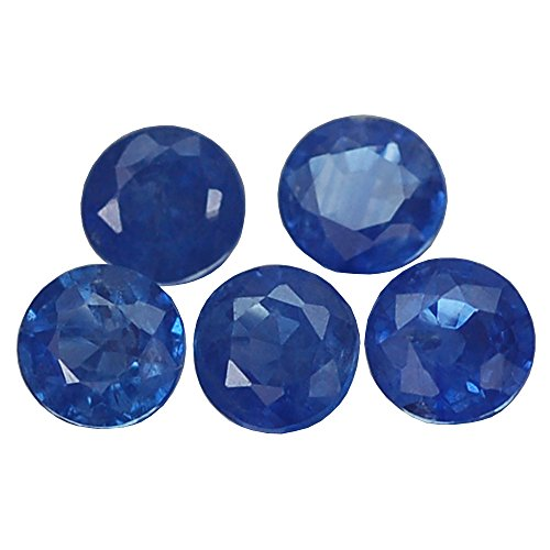 2.14CT STUNNING TOP 5PCS ROUND BLUE HEATED ONLY SAPPHIRE NATURAL - Heated Round Blue Sapphire