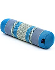 Leewadee Kleine Yoga Bolster Pilates Ondersteunend Roll Kussen Nekkussen Milieuvriendelijk organisch en natuurlijk, 55x15x15 cm, Kapok