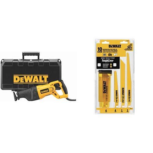 DEWALT DW311K 13-Amp Reciprocating-Saw with DEWALT DW4898 Bi-Metal Reciprocating Saw Blade Set with Case, 10-Piece by DEWALT