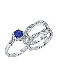 Unique Milgrain Vintage Round Cut Created Blue Sapphire & White Sapphire 14K White Gold Plated Enhancer Wedding Set