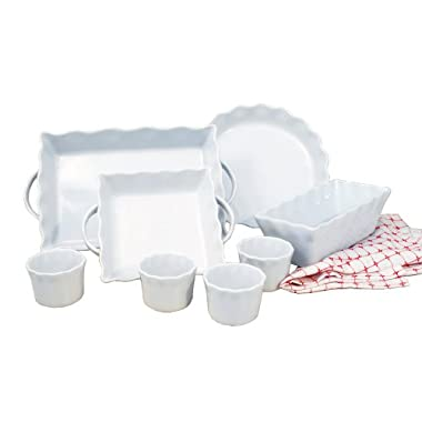 Cook Pro Inc 8-Piece White Ceramic Ruffled Bakeware Set