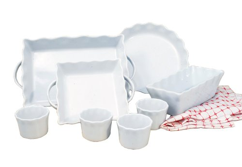 White Bakeware (Cook Pro Inc 8-Piece White Ceramic Ruffled Bakeware Set)