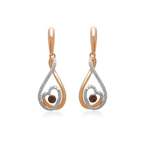 Jewelili 10kt Pink Gold 1/10ct Cognac and White Diamond Teardrop Heart Earrings (Gold Teardrop Heart)