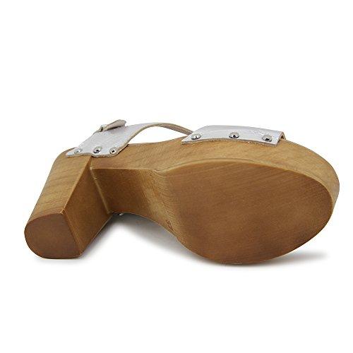 Sandalia de tacon En Piel Plata Plata