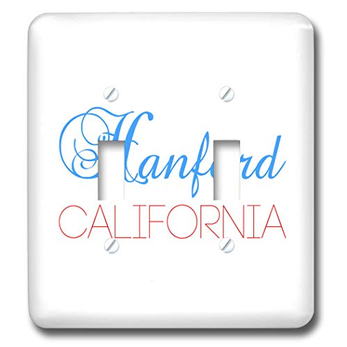 3dRose Alexis Design - American Cities California - Hanford, California, red, blue text. Patriotic home town design - Light Switch Covers - double toggle switch (lsp_302746_2)