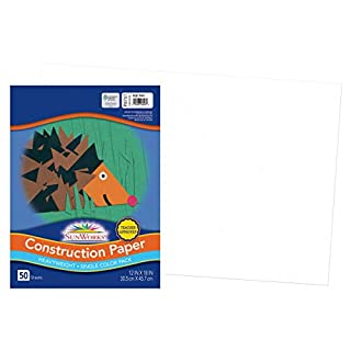 "SunWorks Construction Paper, Bright White,  12"" x 18"", 50 Sheets"