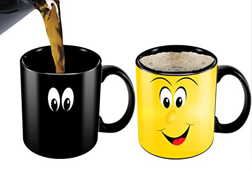 Heat Sensitive Mug | Color Changing Coffee Mug | Funny Coffee Cup | Funny Yellow Cartoon Smiley Face| Birthday Gift Idea For Him Or Her, Mother's Gift For Mom And Father's Day Gift For Dad