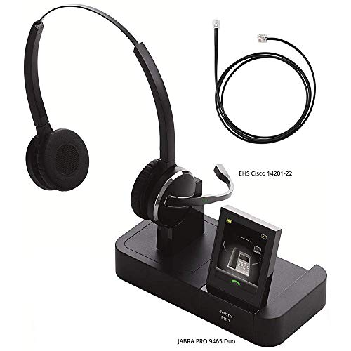 (Jabra PRO 9465 Duo Wireless Headset with EHS Cisco 14201-22 Cable, Bundle for Cisco Unified IP Phones (7900G Series))