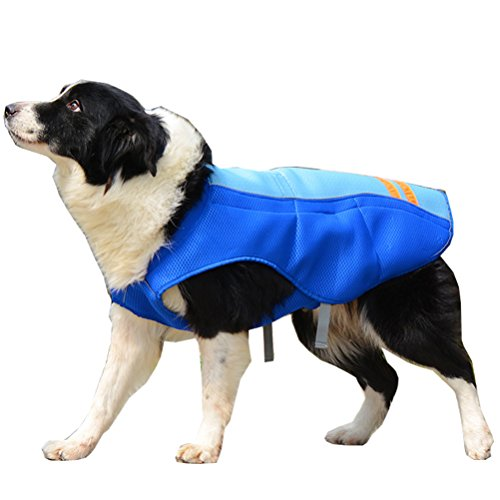 SGODA Dog Cooling Vest Harness Jacket, Blue, - Cooler Vest Blue