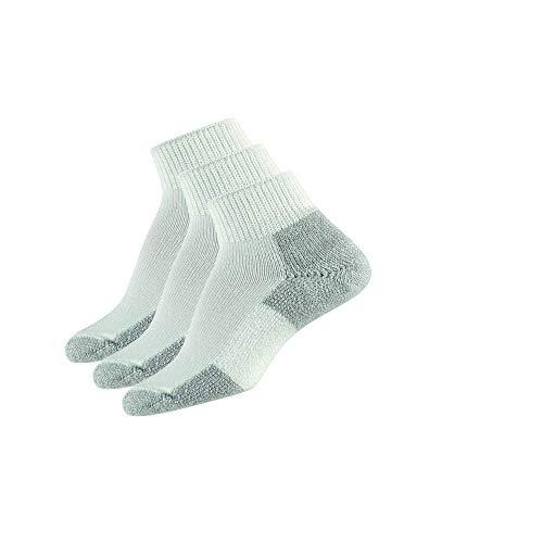 Thorlos Unisex JMX Running Thick Padded Ankle Sock, White (3 Pack), Medium