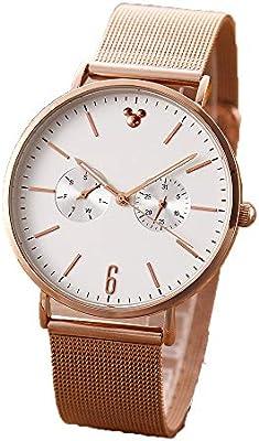 LWT Reloj De Pareja Reloj Unisex Reloj para Hombre Y Mujer Correa De Acero De Cuarzo Resistente Al Agua Multifunción Avanzada Moda Retro, Gold