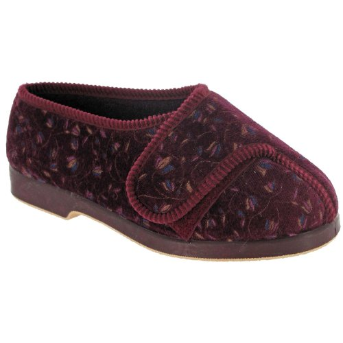 Womens GBS Nola Extra Wide Fit Orthopaedic Slippers Rubber Velcro Black UK 3-8 Vino