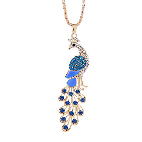 NYKKOLA Women's Fashion Shiny 18K Gold Plated Peacock Pendant Chain Necklace