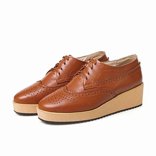 Mee Shoes Damen modern bequem populär retro-stil amtungsaktiv Keilabsatz Durchgängiges Plateau Schnürhalbschuhe Gelbgraun