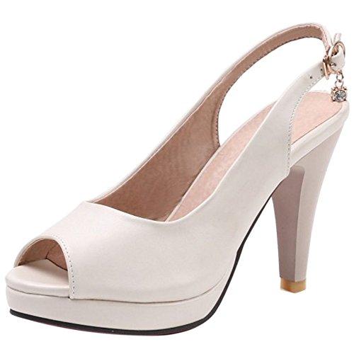 Beige Zapatos Sandalias Verano Toe Slingback Peep Mujer Coolcept vOPqgg