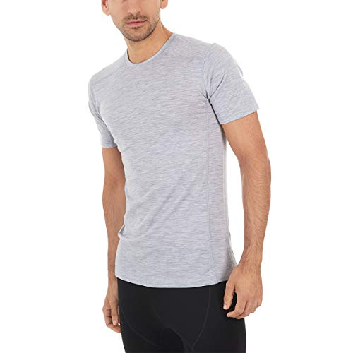 (Minus33 Merino Wool 1201 Woolverino Men's Micro Weight Short Sleeve Crew Ash Grey XL)