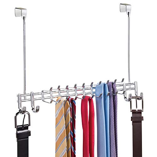 mDesign Metal Over Door Hanging Closet Storage Organizer Rack for Bedroom, Closet, Bath - Holds Men's/Women's Ties, Belts, Slim Scarves, Jewelry, Accessories - 4 Large Hooks, 20 Small Hooks - Chrome