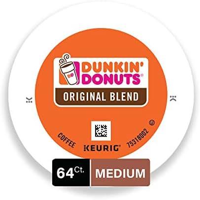 Dunkin' Donuts Original Blend Medium Roast Coffee, 64 K Cups for Keurig Coffee Makers
