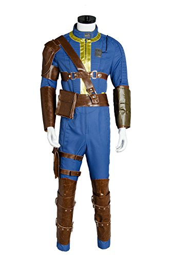 Mens's Halloween Blue Jumpsuit Sole Survivor Uniform Nate Vault 76 Vault 111 Cosplay -