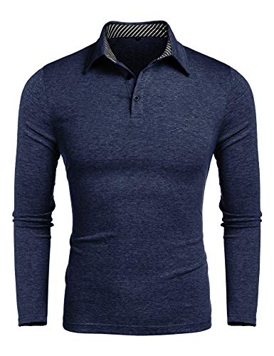 Men's Classic Fit Long Sleeve Golf Polo Shirts Casual Striped Collar Polo T Shirt Dark Blue XL ()