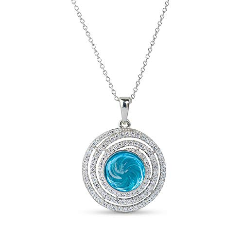 AYOS Inc Natural Blue Gemstone Swiss Topaz (5.73 cttw) Hand Carved Healing Crystals Birthstone Gemstone Pendant Necklace Pendants for Women 925 Sterling Silver Gemstone Jewelry Gifts for ()