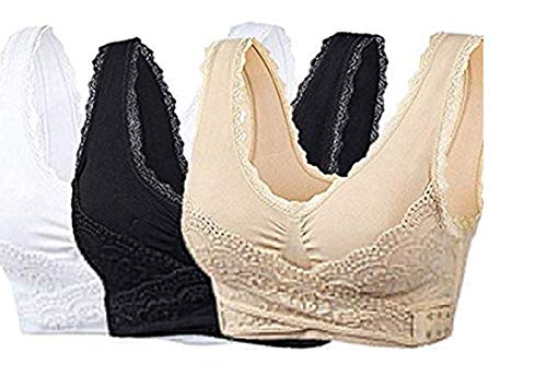 - New Special Women's 3-Pack Women Seamless Cross Front Side Buckle Lace Sport Push Up Bra Yoga Running Bras with Removable Pads (L)