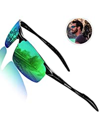Driving Polarized Sunglasses for Men UV Protection Ultra Lightweight Al Mg Golf Fishing Sports Sunglasses